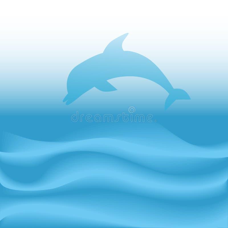 niebieska abstrakcyjne nurkuje delfinów skoków fale oceanu royalty ilustracja