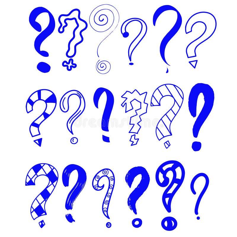 niebieska abstrakcyjne R?ka rysuj?cy set doodle znak zapytania Wektorowa ilustracja dla tw?j ikony, t?o, tapetowy projekt kresk?w ilustracja wektor
