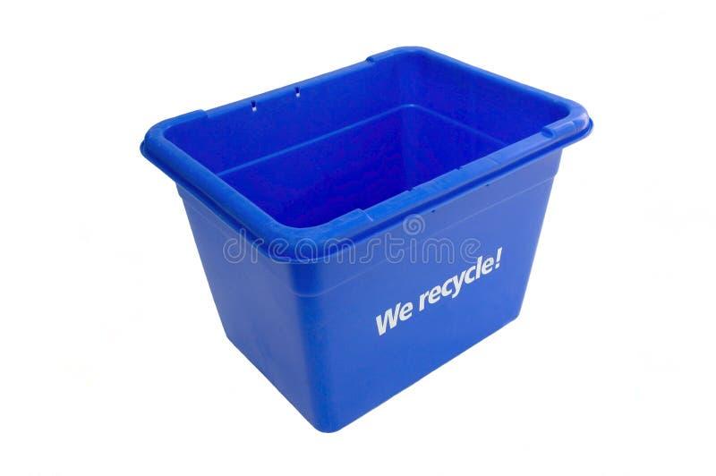 niebieska budka recyklingu fotografia royalty free
