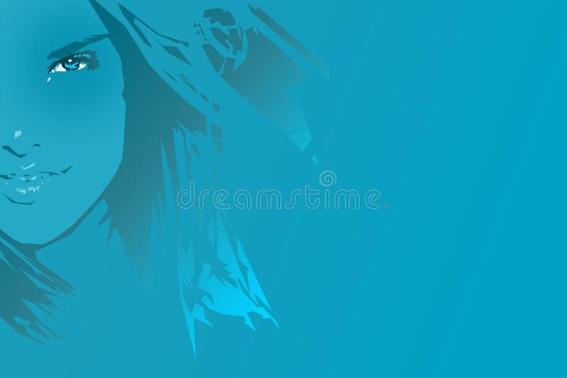 niebieska dziewczyna royalty ilustracja