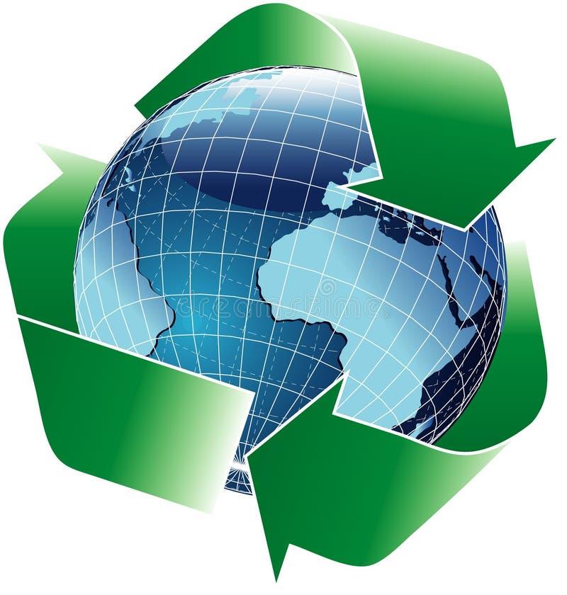 niebieska globe recyklingu ilustracji