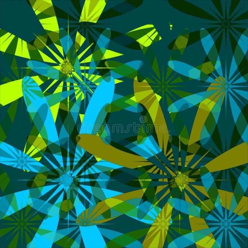 niebieska green kwiecista tło royalty ilustracja