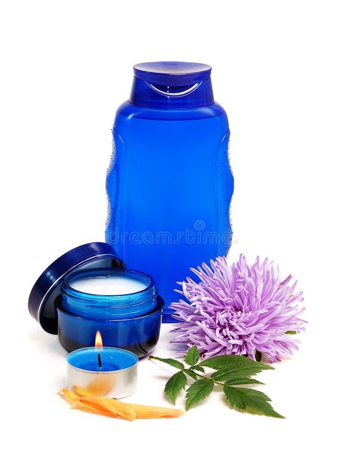 niebieska kosmetyczna śmietany zdjęcia royalty free