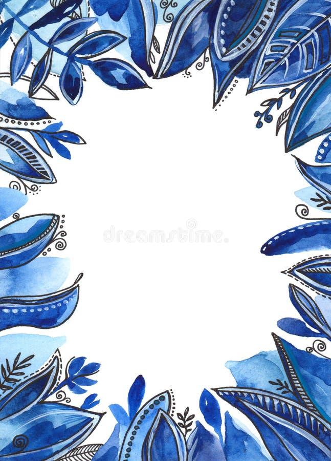 niebieska kwiecista rama Akwareli marynarki wojennej kwiaty ilustracji