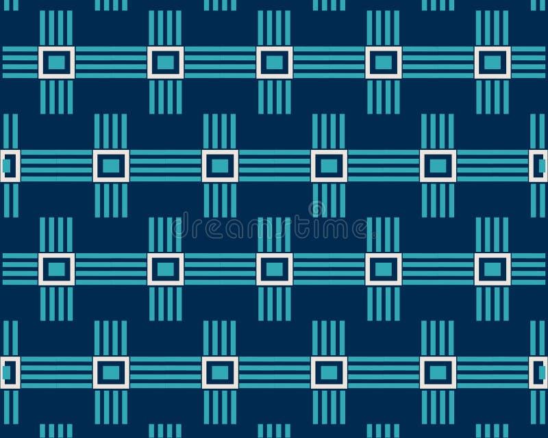 Niebieska linia wzoru kwadraty na ciemnym tle royalty ilustracja