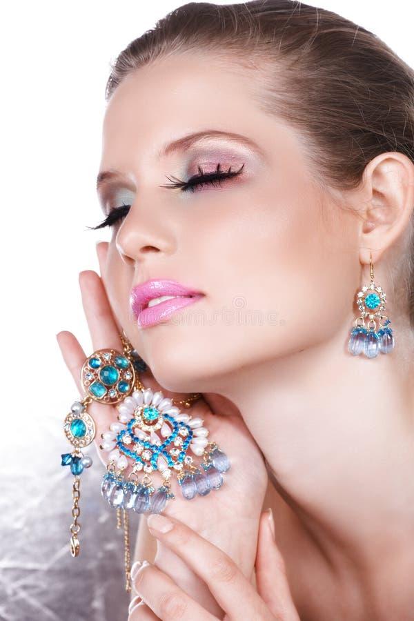 niebieska luksusowe kobieta blond zdjęcie royalty free