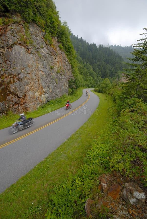 niebieska motocykl gór ridge parkway obraz royalty free