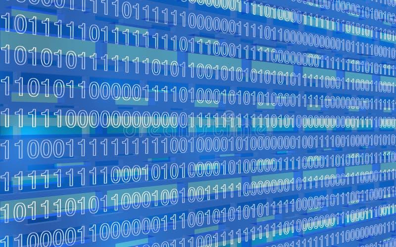 Niebieska perspektywa świateł z cyframi binarnymi royalty ilustracja