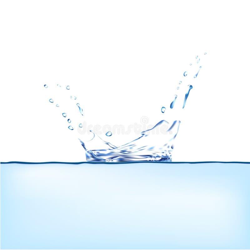 niebieska plusk wody Kiść z kroplami odizolowywać 3d ilustraci wektor Aqua chełbotania powierzchni tło tworzył z gradientową siat ilustracji