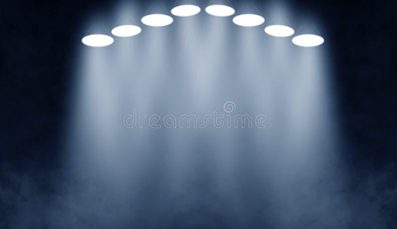 niebieska scena Światło reflektorów na podłodze Odizolowywający na czarny tle ilustracji