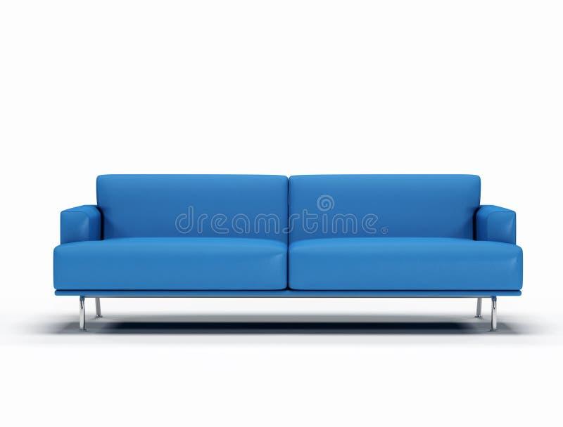 niebieska skórzana sofa