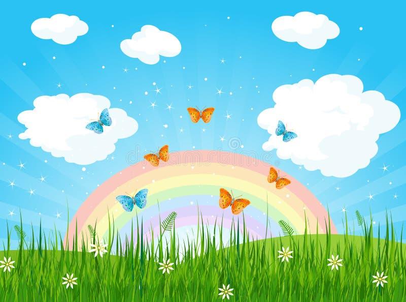 niebieska spowodowana pola pełne się chmura dzień zielonych roślin krajobrazu ruchu pokaz mały nie niebo było pszenicznym biały w royalty ilustracja