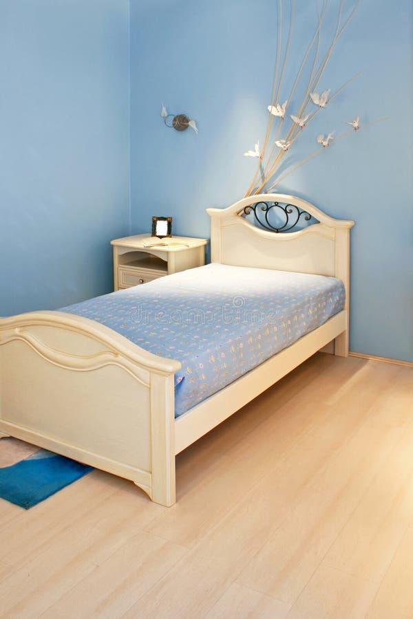 niebieska sypialni fotografia royalty free