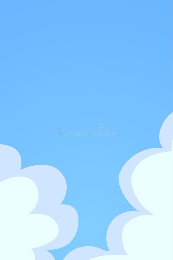 niebieska t?a rana chmury strza?u niebo bia?e Chmurnieje na niebie, p?aska wektorowa ilustracja z miejscem dla teksta zdjęcia stock
