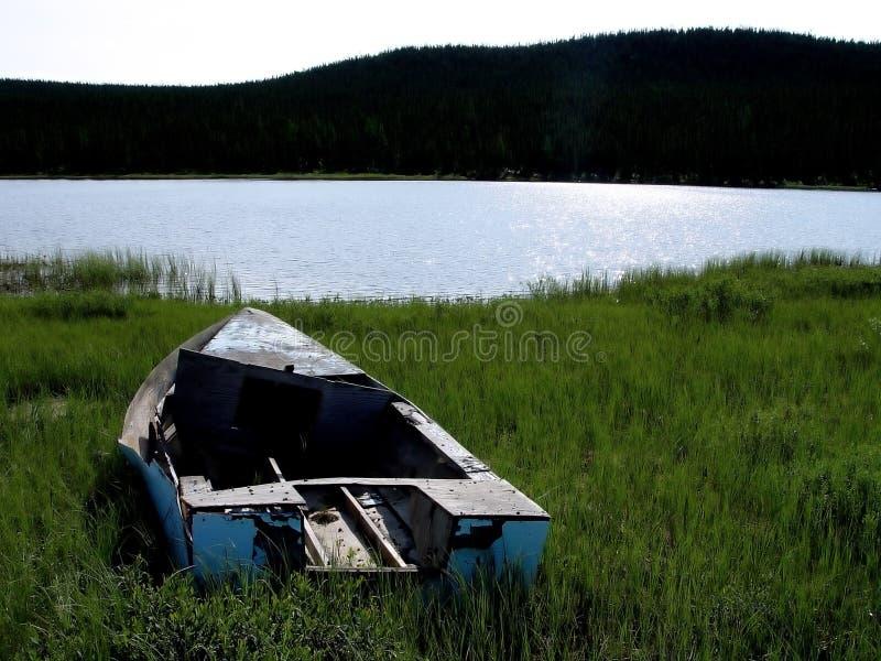 Niebieski łódź Starego Zdjęcia Royalty Free