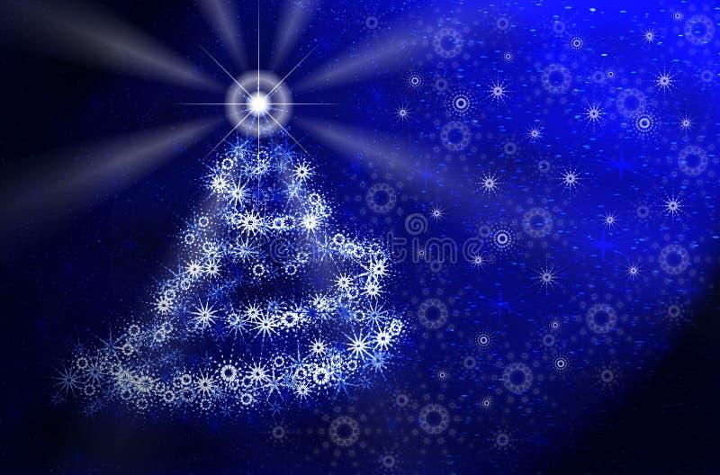 niebieski świąteczne lampki magiczne drzewo ilustracji
