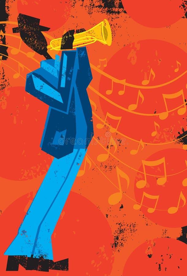 niebieski b palców zawodnika ogniska ton saksofonowa na trąbce ilustracji