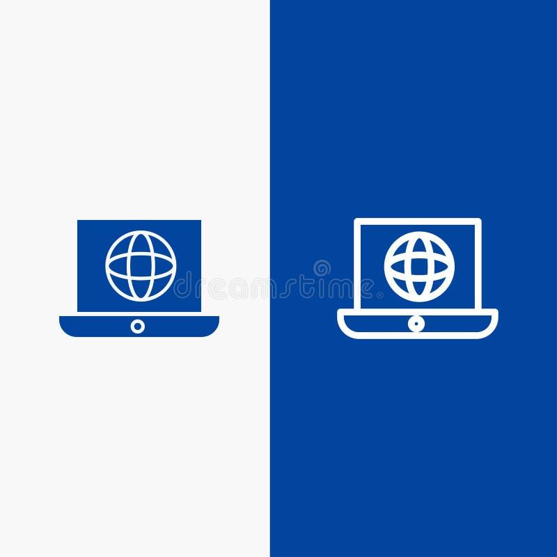 Niebieski baner linii niebieskiej i niebieskiej ikony Glif Solid na notebooku, świecie, globie, globie, linii technicznej i glifu ilustracja wektor