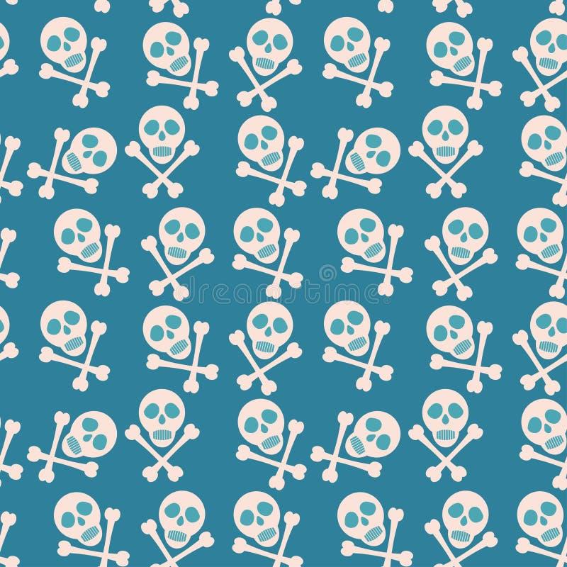 niebieski bezszwowy tła Czaszka i kości Piraci ilustracja wektor