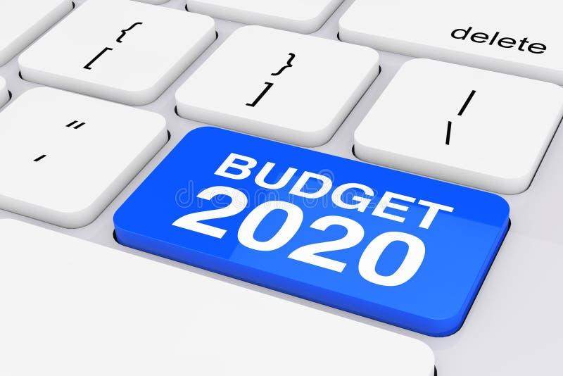 Niebieski budżet 2020 — klawiatura na białym komputerze Renderowanie 3W fotografia royalty free