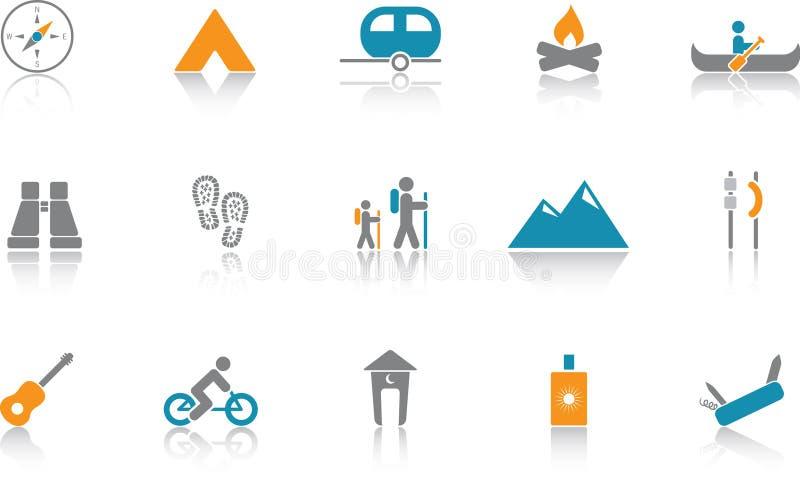 niebieski campingowy ikona zestaw ilustracja wektor