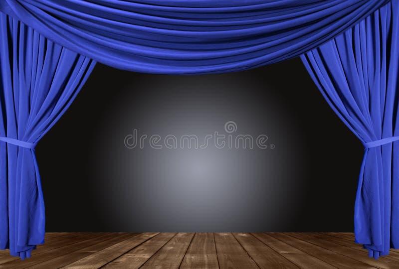 niebieski drapujący sceny piętra drewna zdjęcia royalty free