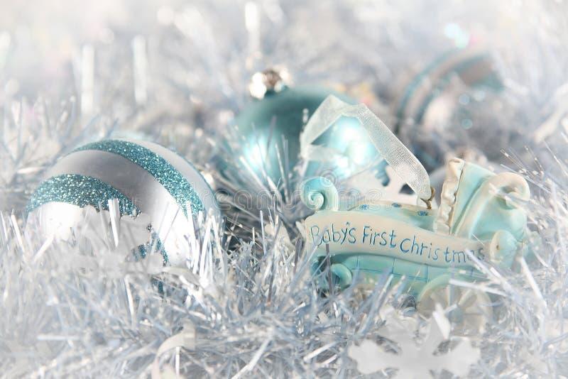 niebieski dziecka bożego narodzenia pierwszy s zdjęcie stock