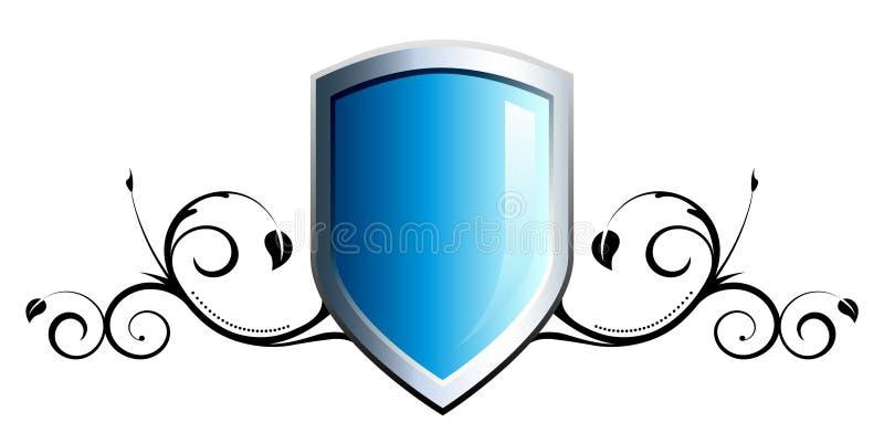 Niebieski Emblemata Glansowana Tarczy Obraz Stock