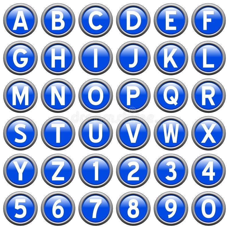 niebieski guzik rundy alfabet ilustracja wektor