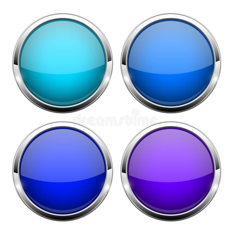 niebieski guzik szkła Błyszczące round 3d sieci ikony ilustracja wektor