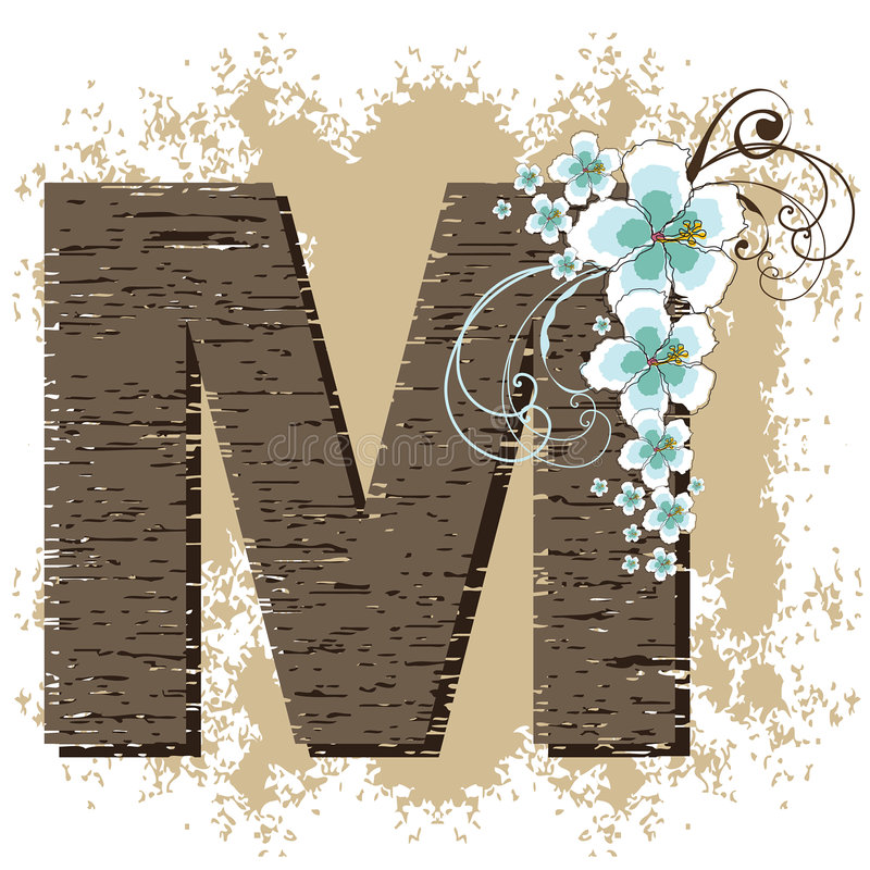 niebieski hibiskus m alfabet ilustracji