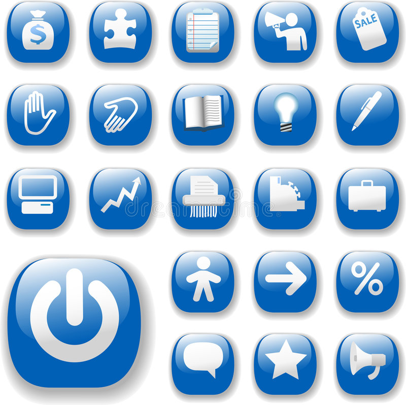 niebieski interes ikona internetu postawił świecąca witryny internetowej ilustracja wektor
