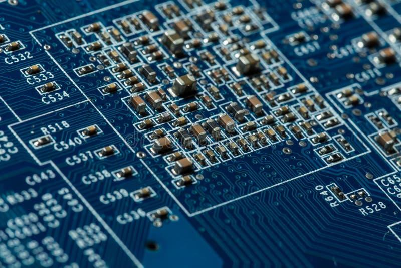 niebieski kolor się komputerowa płyta główna obrazy stock