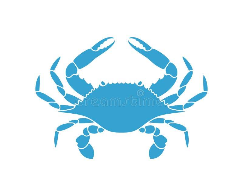 niebieski krabie logo tła kraba odosobniony biel ilustracja wektor