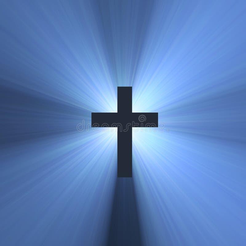 niebieski krzyż święty światła flar znak ilustracja wektor
