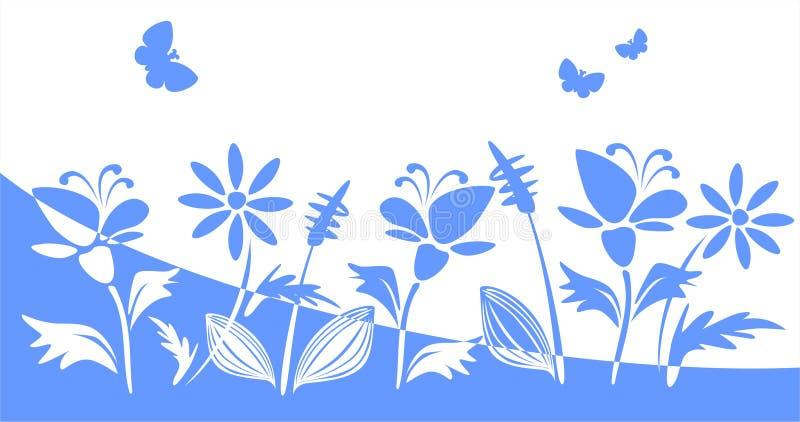 niebieski kwiat sylwetki royalty ilustracja