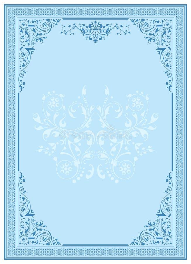 niebieski kwiecisty ornament ramowy royalty ilustracja