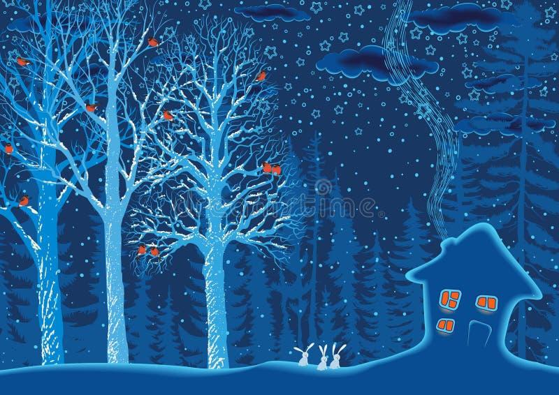 niebieski las ilustracji