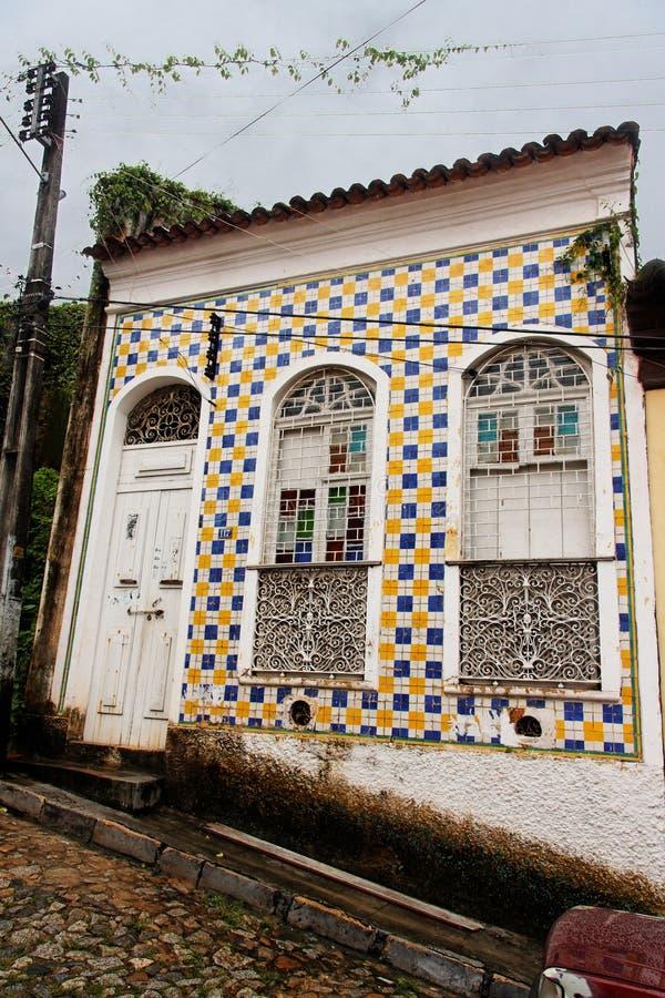niebieski, Luis fasadowemu sao maranhao płytki kolor żółtemu zdjęcia stock