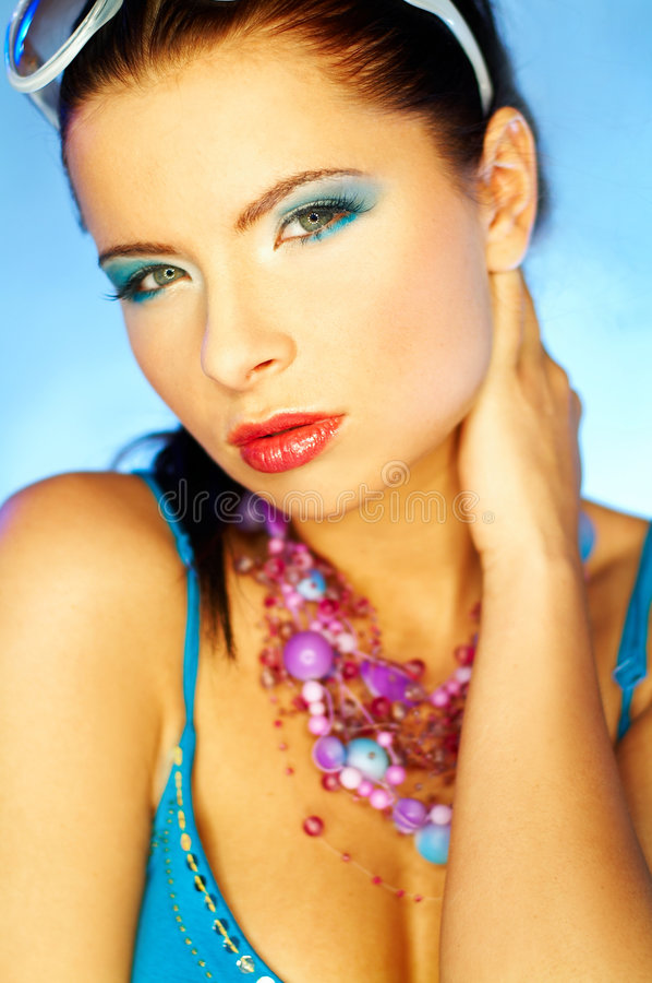 niebieski makijaż zdjęcia royalty free