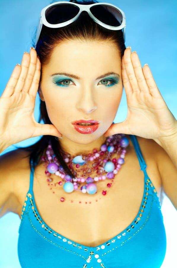 Download Niebieski makijaż zdjęcie stock. Obraz złożonej z splendory - 744224