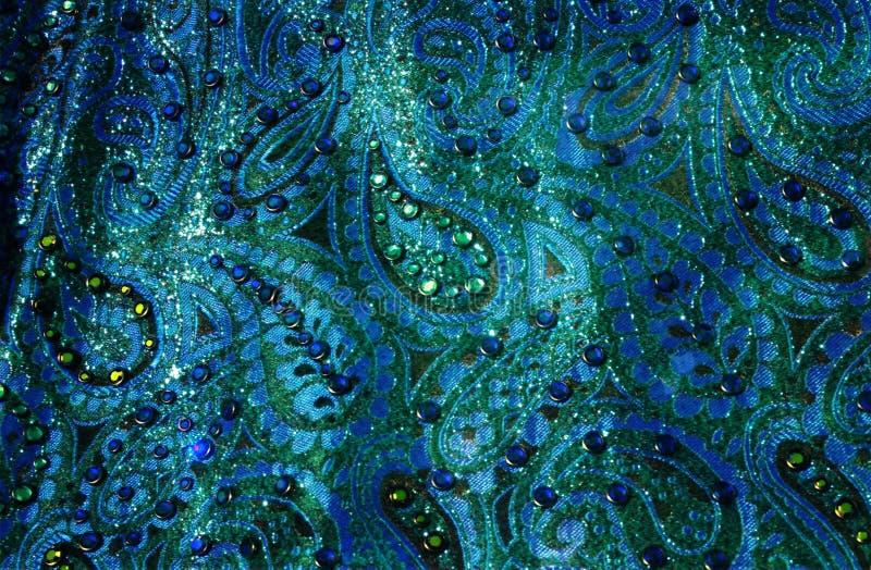 niebieski materiał Paisley fotografia stock