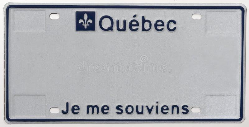 Niebieski numer identyfikacyjny Quebecu, Kanada Pamiętam obrazy stock