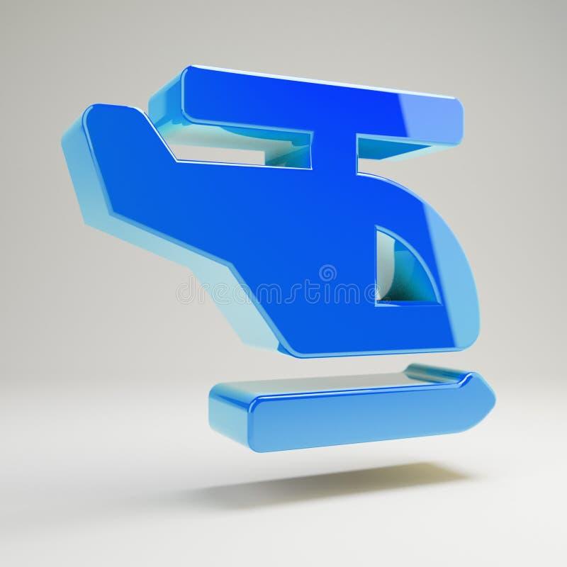 Niebieski, objętościowy migdałek ikona izolowana na białym tle ilustracja wektor