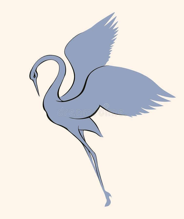 niebieski obraz nieba tęczową chmura wektora Dancingowy żuraw ilustracji