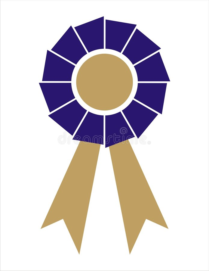 niebieski odznaki nagrody złotego wstążki royalty ilustracja