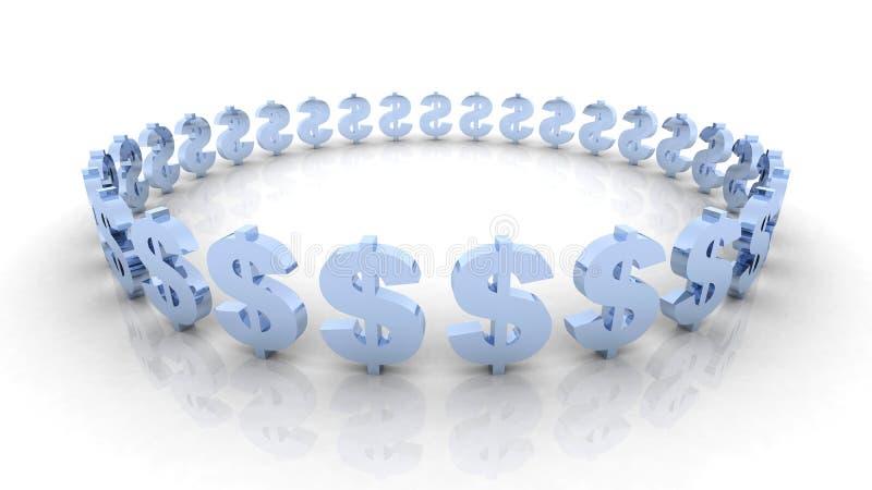 niebieski okręgu dolara royalty ilustracja