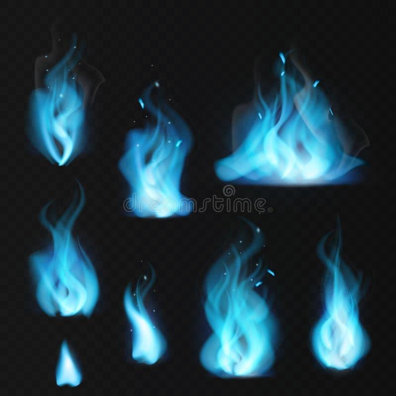 niebieski p?omie? Płonącego ognistego gazu naturalnego graby gorący płomienie grżą pożarniczego płonie ognisko skutka błękitnego  ilustracja wektor