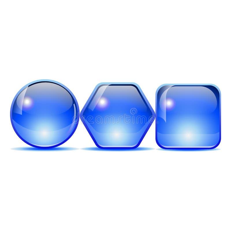 niebieski przycisk obraz stock