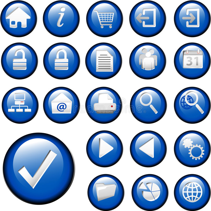 niebieski przycisk ikon inset zestaw gromadzenia danych royalty ilustracja